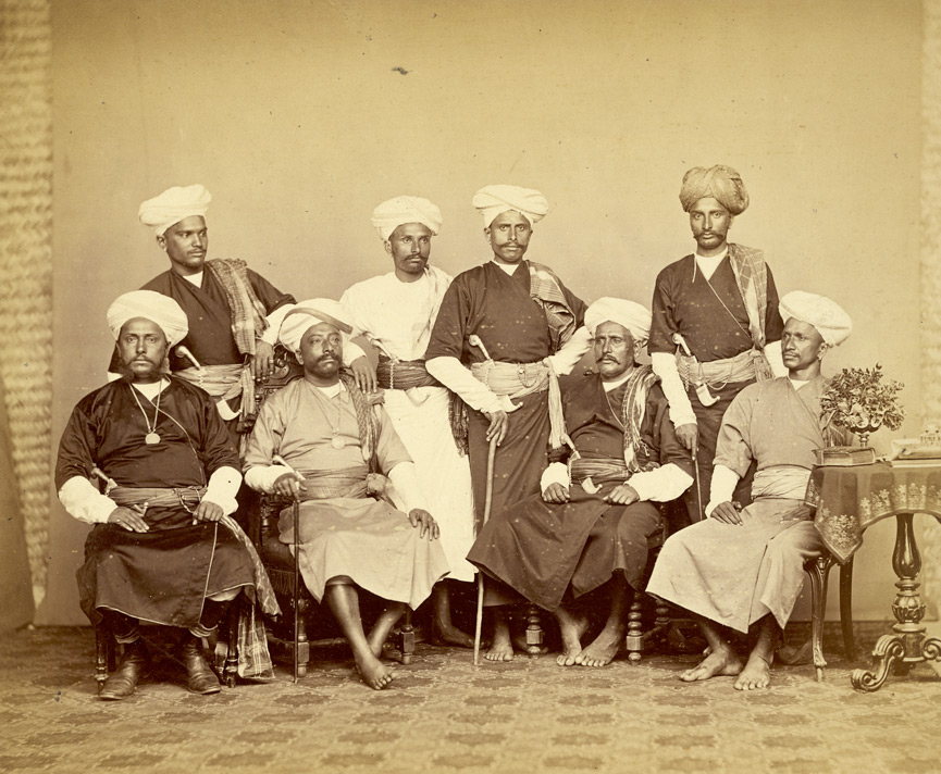 A group of Coorgs(Kodava People) who accompanied the Commissioner of Coorg, Lewin Bentham Bowring to Madras, c.1870 | © British Library